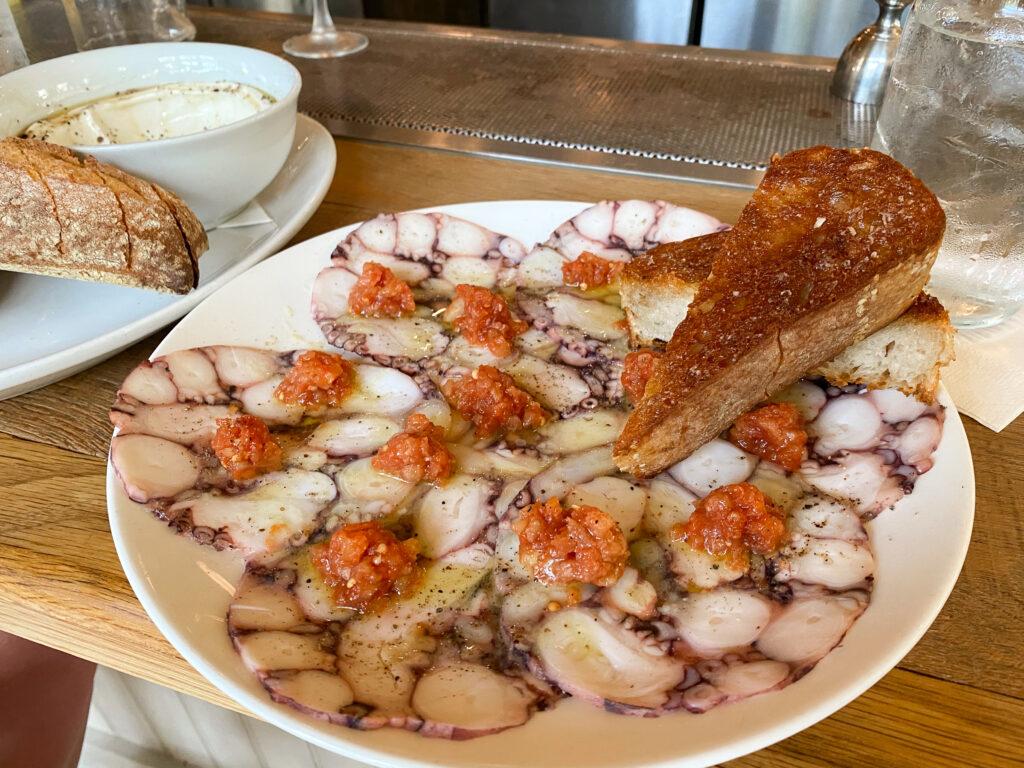 Octopus Carpaccio at Le Farfalle Charleston